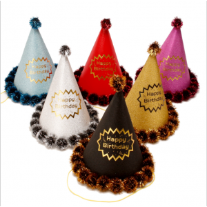 B058-A 彩條金邊生日帽